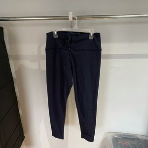 Aerie chill navy lace up leggings. XL